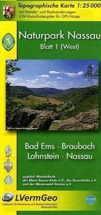 Naturpark Nassau N1 West: Bad Ems - Braubach - Lahnstein - Nassau Wanderkarte 1:25.000