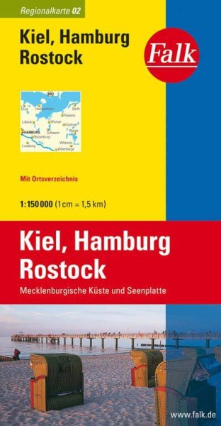 Regionalkarte 02 Kiel, Hamburg, Rostock 1:150.000, Falk Verlag