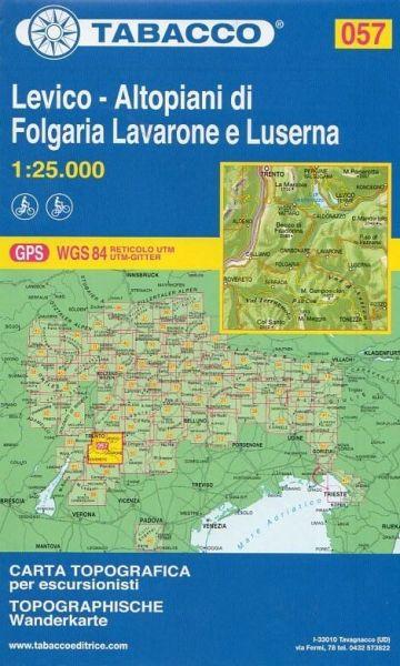 Tabacco 057 Levico, Folgaria, Lavarone e Luserna Trentino Wanderkarte