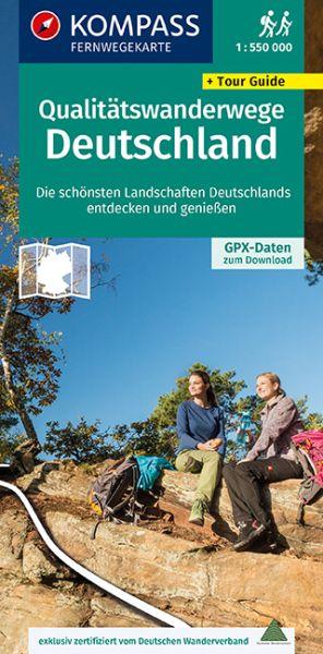 Qualitätswanderwege Deutschland Übersichtskarte 1:550.000, Kompass Wander-Tourenkarte 2561