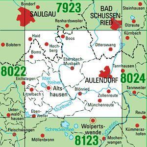 8023 AULENDORF topographische Karte 1:25.000 Baden-Württemberg, TK25
