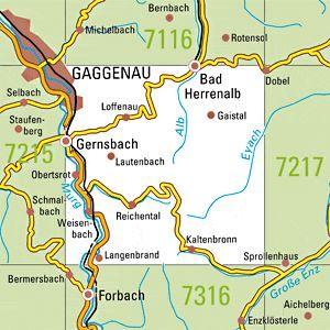 7216 GERNSBACH topographische Karte 1:25.000 Baden-Württemberg, TK25