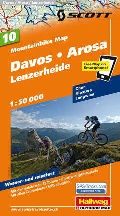 Hallwag Mountainbike Map Bl.10, Davos, Arosa, Lenzerheide, 1:50.000, Wasser- und reißfest