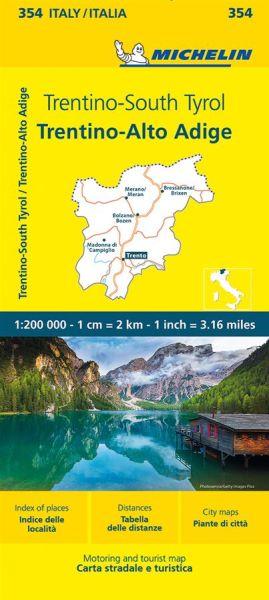 Michelin 354 Trentino, Südtirol Straßenkarte 1:200.000