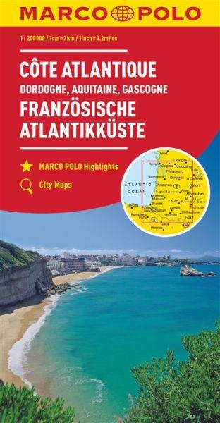 Französische Atlantikküste Süd / Dordogne / Aquitaine / Gascogne Straßenkarte 1:300.000, Marco Polo