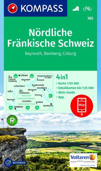 Kompass Karte 165, Nördliche Fränkische Schweiz 1:50.000, Wandern