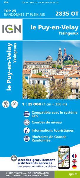 IGN 2835 OT Le Puy-en-Velay, Frankreich Wanderkarte 1:25.000