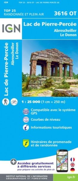 IGN 3616 OT Lac de Pierre-Percée, Frankreich topographische Wanderkarte 1:25.000