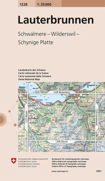 1228 Lauterbrunnen topographische Wanderkarte Schweiz 1:25.000