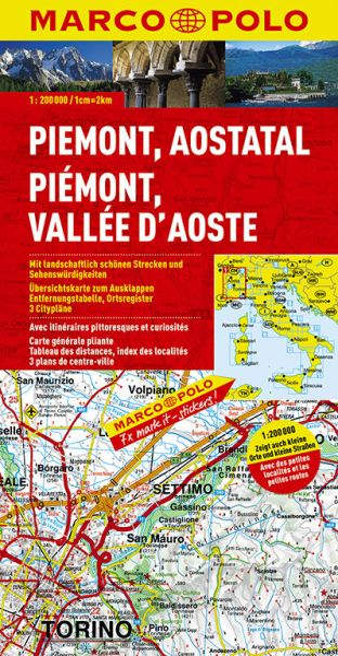 Piemont, Straßenkarte 1:200.000, Marco Polo Italien Blatt 1