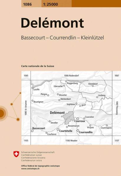 1086 Delémont topographische Karte Schweiz 1:25.000