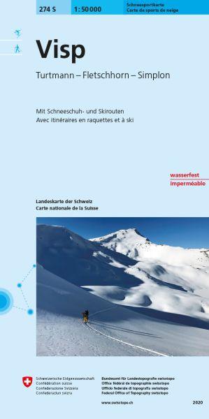 274 S Visp topographische Skitourenkarte 1:50.000