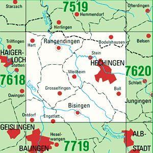 7619 HECHINGEN topographische Karte 1:25.000 Baden-Württemberg, TK25