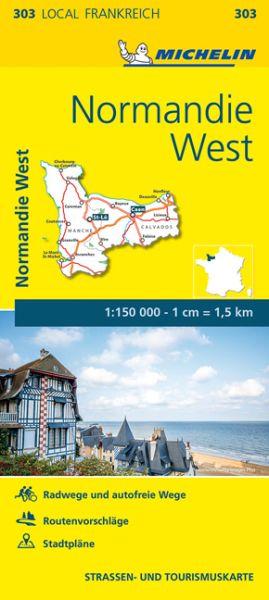 Michelin local 303 Normandie West Straßenkarte 1:150.000