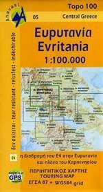Evritania, Nord-Ätolien topographische Karte 1:100.000, Anavasi 05, Griechenland, wetterfest