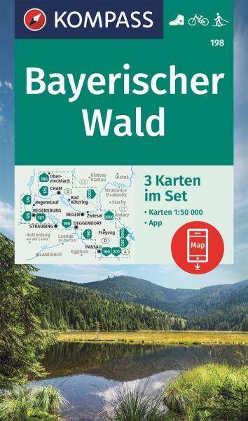 Kompass Karten Set 198, Bayerischer Wald 1:50.000, Wandern, Rad fahren