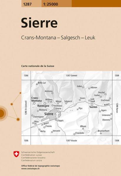 1287 Sierre topographische Wanderkarte Schweiz 1:25.000