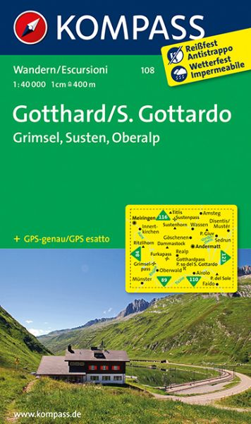 Kompass Karte 108, Gotthard / S. Gottardo 1:40.000, Wandern, Rad fahren