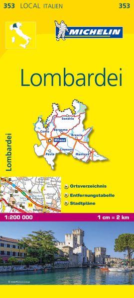 Michelin 353 Lombardei Straßenkarte 1:200.000