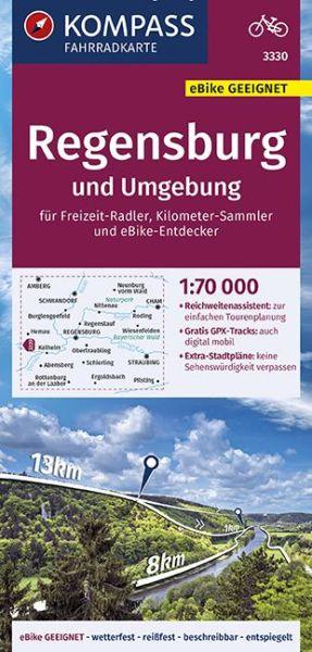 Kompass Fahrradkarte 3330 Regensburg und Umgebung 1:70.000