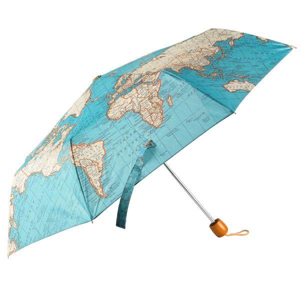"""Faltbarer Schirm im Landkarten-Design """"Vintage Map"""" von Sass&Belle"""