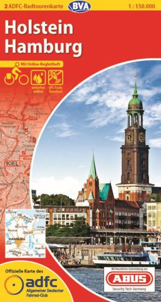 ADFC Radtourenkarte 2, Holstein - Hamburg Radwanderkarte 1:150.000