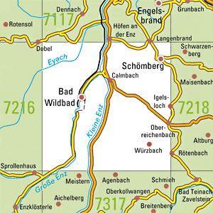 7217 BAD WILDBAD I.SCHW. topographische Karte 1:25.000 Baden-Württemberg, TK25