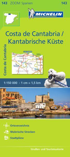 Michelin zoom 143 Costa de Cantabria / Kantabrische Küste Straßenkarte 1:150.000