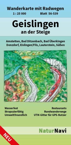 Geislingen an der Steige 1:25.000 Wanderkarte mit Radwegen – NaturNavi Bl. 56-539