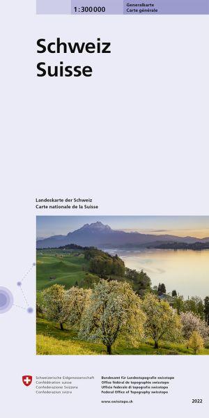Generalkarte der Schweiz topographische Straßenkarte 1:300.000