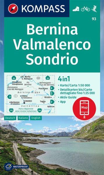 Kompass Karte 93, Bernina, Valmalenco, Sondrio 1:50.000, Wandern