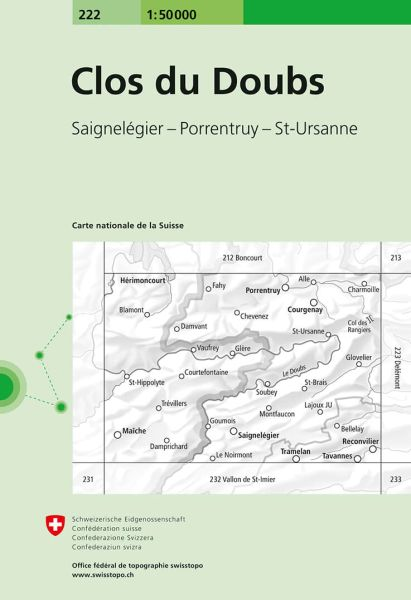 222 Clos du Doubs topographische Wanderkarte Schweiz 1:50.000