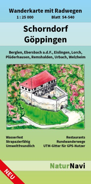 Schorndorf & Göppingen 1:25.000 Wanderkarte mit Radwegen – NaturNavi Bl. 54-540