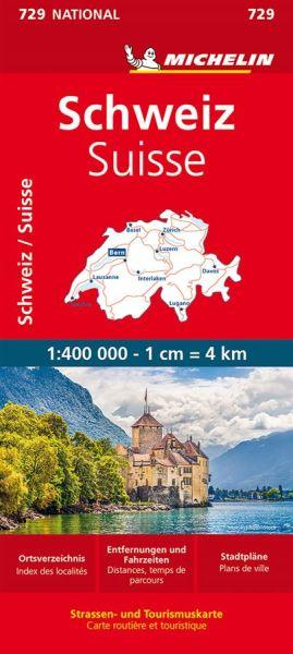 Michelin 729 Schweiz Straßenkarte, Stadtpläne: Bern, Zürich, Genf, Lausanne 1:400.000