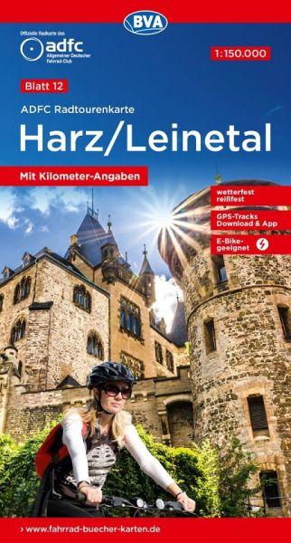 ADFC Radtourenkarte 12, Harz - Leinetal Radwanderkarte 1:150.000