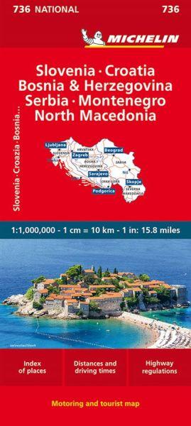 Michelin 736 Slowenien, Kroatien, Bosnien-Herzegowina, Serbien, Montenegro, Mazedonien 1:1Mio.