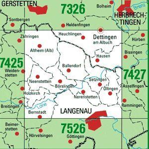 7426 LANGENAU topographische Karte 1:25.000 Baden-Württemberg, TK25