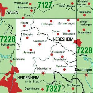 7227 NERESHEIM WEST topographische Karte 1:25.000 Baden-Württemberg, TK25