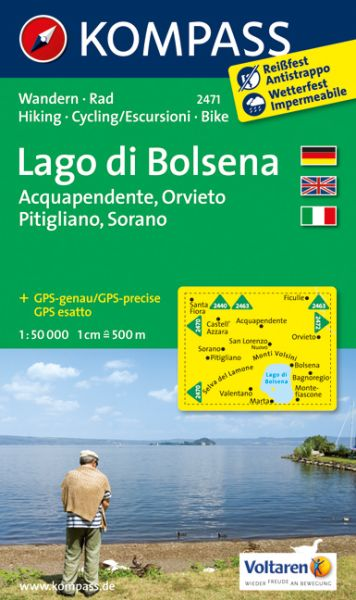 Kompass Karte 2471, Lago di Bolsena 1:50.000, Wandern, Rad