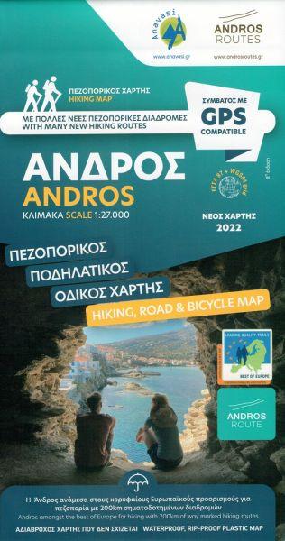 Andros (Kykladen; Andros Wanderwege) Wanderkarte 1:27.000, Anavasi Andros, Griechenland, wetterfest