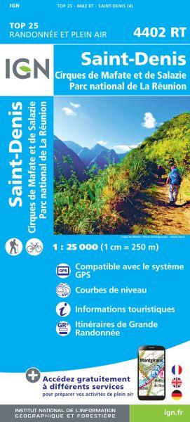 IGN 4402 RT St-Denis, La Reunion topographische Wanderkarte 1:25.000, IGN