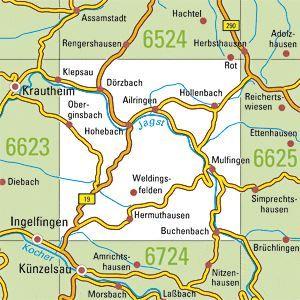 6624 MULFINGEN topographische Karte 1:25.000 Baden-Württemberg, TK25