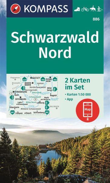 Kompass Karten-Set 886, Schwarzwald Nord 1:50.000, Wandern, Rad