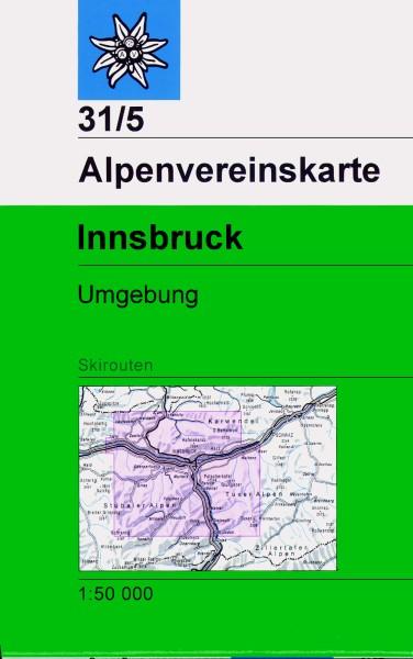 DAV Alpenvereinskarte 31/5 Innsbruck, Umgebung, Skikarte 1:50.000