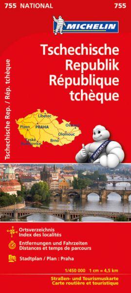Michelin 755 Tschechische Republik Straßenkarte, Stadtplan von Prag, 1:450.000