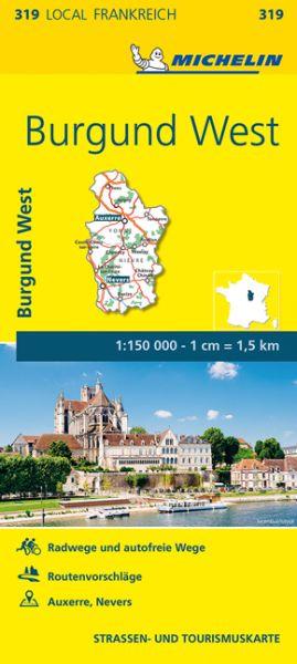 Michelin local 319 Burgund West Straßenkarte 1:150.000