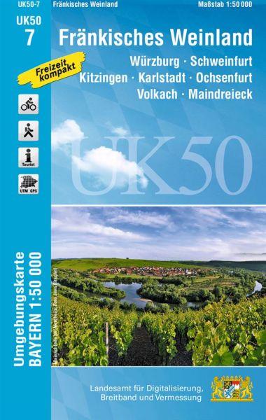 UK50-7 Fränkisches Weinland Rad- und Wanderkarte 1:50.000 - Umgebungskarte Bayern