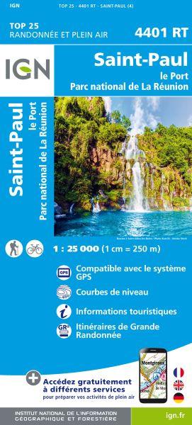 IGN 4401 RT, St.-Paul, La Reunion topographische Wanderkarte 1:25.000, IGN
