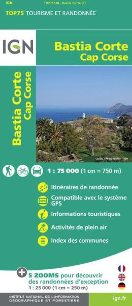 Bastia, Corte 1:75.000 Rad- und Wanderkarte, IGN Top75030