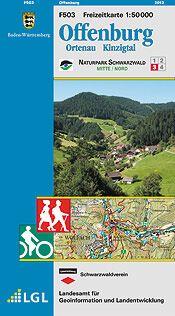 Offenburg Freizeitkarte in 1:50.000 - F503 mit Rad- und Wanderwegen